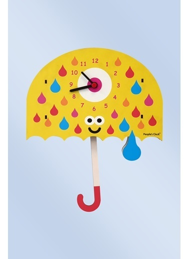 Peoples Clock Şemsiye Sallanan Sarkaçlı Çocuk Odası Duvar Saati Renkli